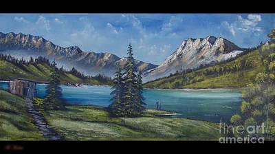 Mountain Painting A La Bob Ross Print by Bruno Santoro