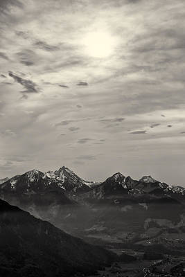 Photograph - Mountain Panorama At Sunset In Black And White by Francesco Rizzato
