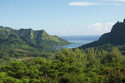 Photograph - Mountain Peaks And Inlet, Moorea by Panoramic Images