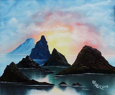 Wet On Wet Painting - Mountain Peaks Still Water Morning by Alfred Stringer