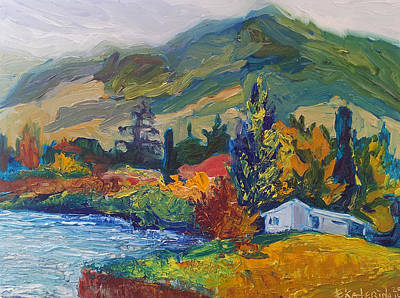 Mountain Painting Oil Landscape Ekaterina Chernova Art Print