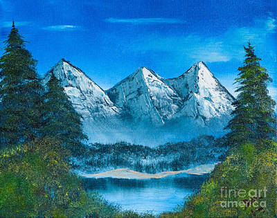 Bob Ross Painting - Mountain Pond by Dave Atkins