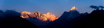 Nepal Scenes Photograph - Mountain Range At Dusk, Ama Dablam by Panoramic Images