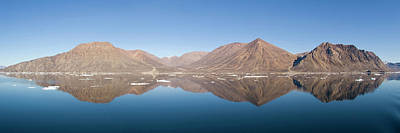 Magnificent Mountain Image Photograph - Mountain Reflection Panorama, Godthab by Daisy Gilardini