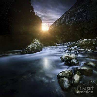 Mountain River At Sunset, Ritsa Nature Art Print