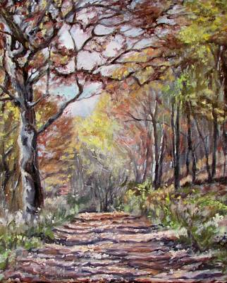 Impressionistic Landscape Painting - Mountain Road- Sugar Run Mountain In Autumn by Bonnie Mason