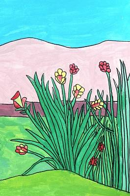 Drucker Painting - Mountain Roses by Artists With Autism Inc