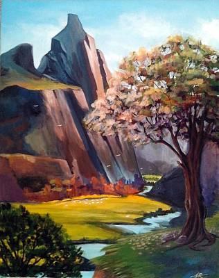 Shading On Flowers Painting - Mountain Scenery by Fariha Rashid
