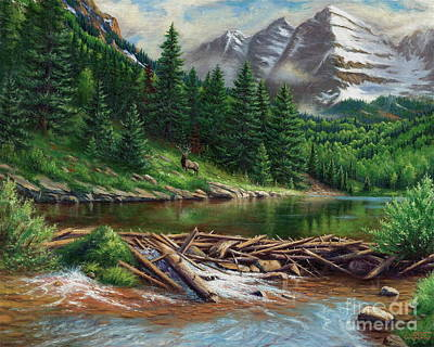 Willow Lake Painting - Maroon Bell Splendor by Asa Gochenour