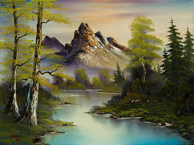 Sawtooth Mountain Art Painting - Mountain Evening by C Steele