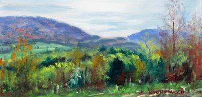 Impressionistic Landscape Painting - Mountain Spring- Virginia Mountains In Springtime by Bonnie Mason