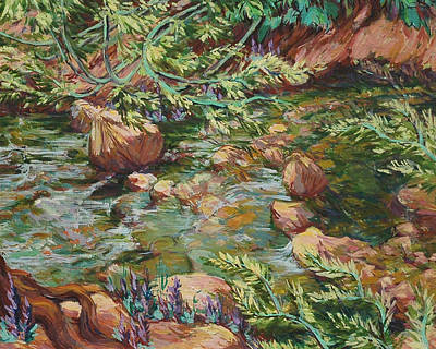 Mountain Stream And Wild Willows Original by Joy Collier