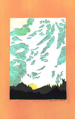Drawing - Mountain Sunrise - Paper Cut by Dawn Senior-Trask