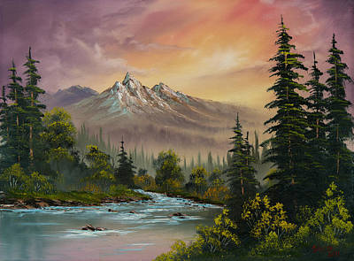 Tree Oil Painting - Mountain Sunset by Chris Steele
