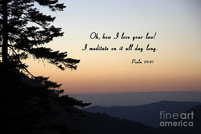 Photograph - Mountain Sunset With Scripture by Jill Lang