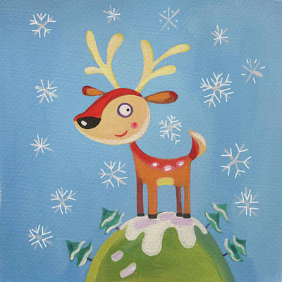 Reindeer Painting - Mountain Top Reindeer by P.s. Art Studios