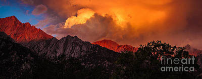 Photograph - Mountain Top Sunrise With Orange Dramatic Storm Clouds by Jerry Cowart