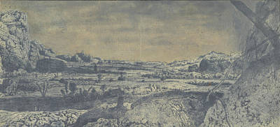 Fence Drawing - Mountain Valley With Fenced Fields, Hercules Segers by Quint Lox