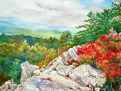 Mountain View From Rocky Cliff With Fall Colors Art Print by Mira Fink