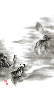 Mountain Snow Landscape Painting - Mountain View Poet In Mountain Haiku Sky Snow And Clouds Landscape Sumi-e Original Ink Painting by Mariusz Szmerdt