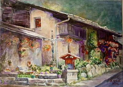 Chamonix Painting - Mountain Village by Danielle Arnal