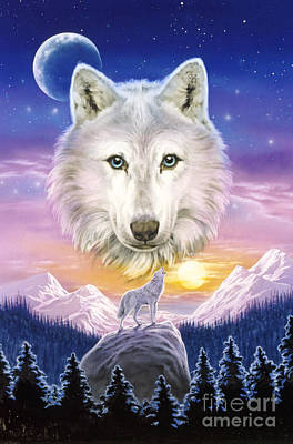 Snow Digital Art - Mountain Wolf by Robin Koni