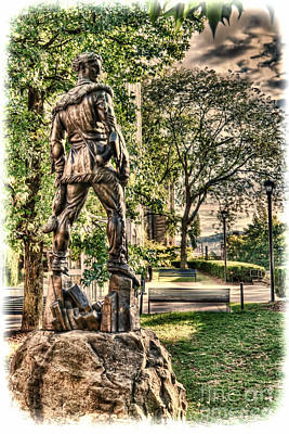 Art Print featuring the photograph Mountaineer Statue At Lair by Dan Friend