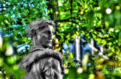 Photograph - Mountaineer Statue In Trees by Dan Friend
