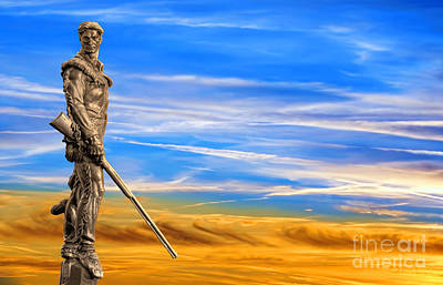 Mountaineer Statue With Blue Gold Sky Art Print by Dan Friend