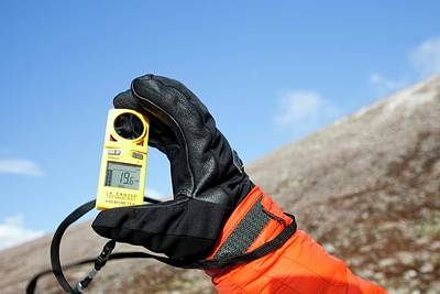 Anemometer Photograph - Mountaineer Using An Anemometer by Ashley Cooper