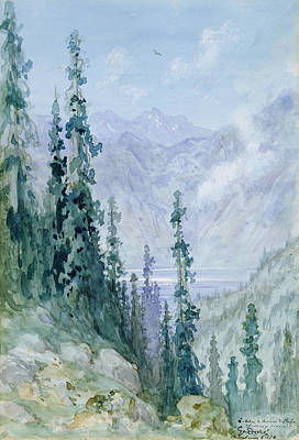 Pine Tree Painting - Mountainous Landscape by Gustave Dore