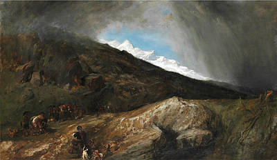 Landscape With Rocks Painting - Mountainous Landscape With A Hunter And Travellers by Clarkson Frederick Stanfield
