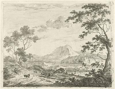 Mountainous Landscape With Resting Shepherd Art Print