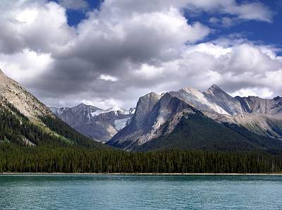 Canadian Heritage Mixed Media - Mountains And Lake Maligne by Janet Ashworth