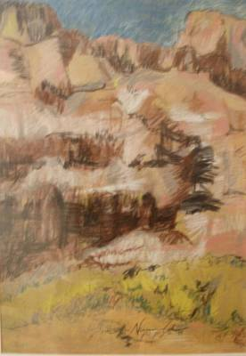 Drawing - Mountains At The Dead Sea by Esther Newman-Cohen