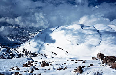 Christmas Holiday Scenery Photograph - Mountains Covered Snow by Anna Om