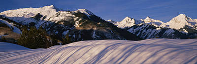 Sunlight Peaking Photograph - Mountains Covered With Snow, Snowmass by Panoramic Images