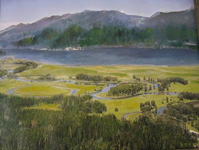 Mountains In Montana At Flathead Lake Art Print