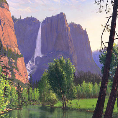 Park Scene Painting - Mountains Waterfall Stream Western Landscape - Square Format by Walt Curlee