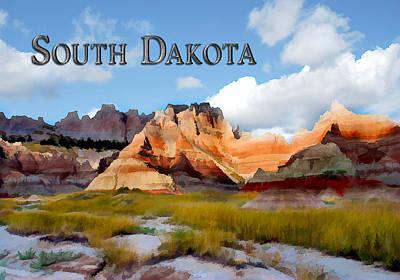Dakota Painting - Mountainsand Sky In The Badlands South Dakota by Elaine Plesser