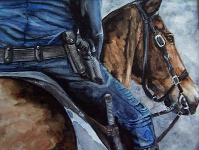 Painting - Mounted Patrol by Kathy Laughlin
