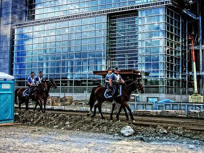 Photograph - Mounted Troopers Patrol Cmgi Stadium by Mike Martin