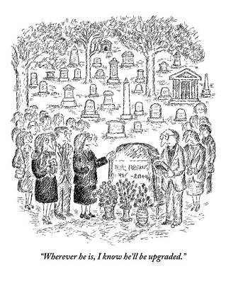 Mourners Stand Around A Gravestone Art Print