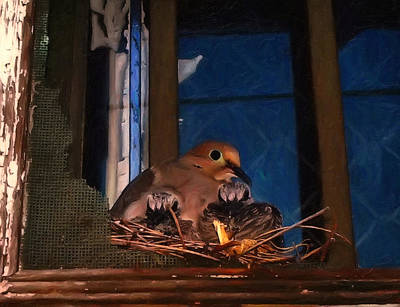 Pigeon Digital Art - Mourning Dove With Chicks by Chris Flees