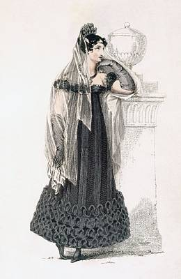 Long Gloves Drawing - Mourning Dress, Fashion Plate by English School