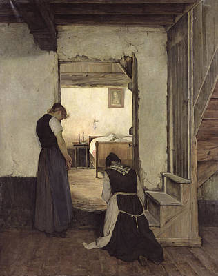 Mourning Oil On Canvas Art Print by Jules Charles Boquet