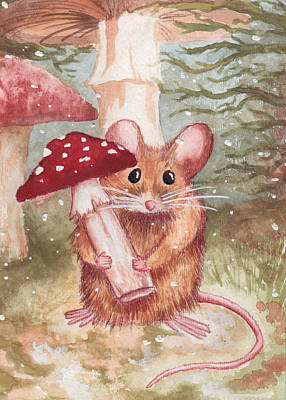 Toadstools Painting - Mouse And Mushroom by Melissa Rohr Gindling