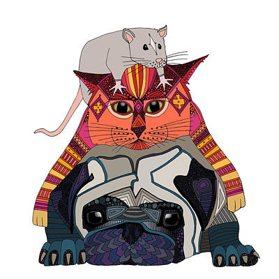 Aztec Drawing - Mouse Cat Pug White by Sharon Turner