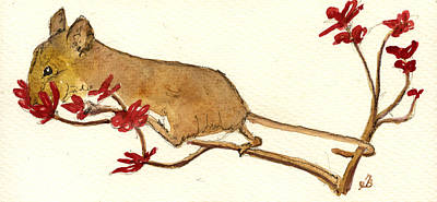 Mouse Flowers Art Print by Juan  Bosco