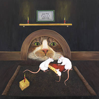 Art Print featuring the painting Mouse House by Karen Zuk Rosenblatt